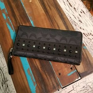 Coach Black Signature Stuuded Zip around Wallet